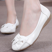 Large size 41/42/43 Flat shoes ladies Butterfly-knot Casual genuine leather women Fashion Boat womens