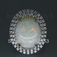 Винтаж Овальный 12x16 мм одноцветное 18kt белого золота Природный опал кольцо Ювелирные украшения для жены день рождения любящий подарок sr294