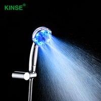Kinse高品質absプラスチック手持ちled浴室のシャワーヘッド付き水力発電主導シャワー