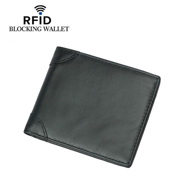 Nuevo aceite de cera de cuero Multi-Tarjeta billetera de los hombres Anti-magnético Anti-robo brocha de cuero RFID cartera para hombres