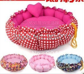 PROMOTION Flower Soft draw cord dog bed house cat bed pad kennels Hot Practical Soft Slumber Pet Plush Bolster Round bed