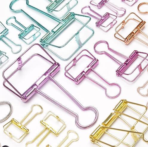Oro rosa verde Clips De Papel notas De marcador De Metal hueco Binder Clips De notas De Papel De carta clips