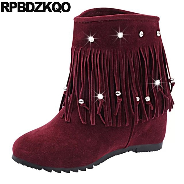 eb7bb736ea8 Big Size 12 44 Fringe Shoes Hidden Wedge Booties Slip On Crystal Wine Red  Round Toe Winter Rhinestone Tassel Women Ankle Boots