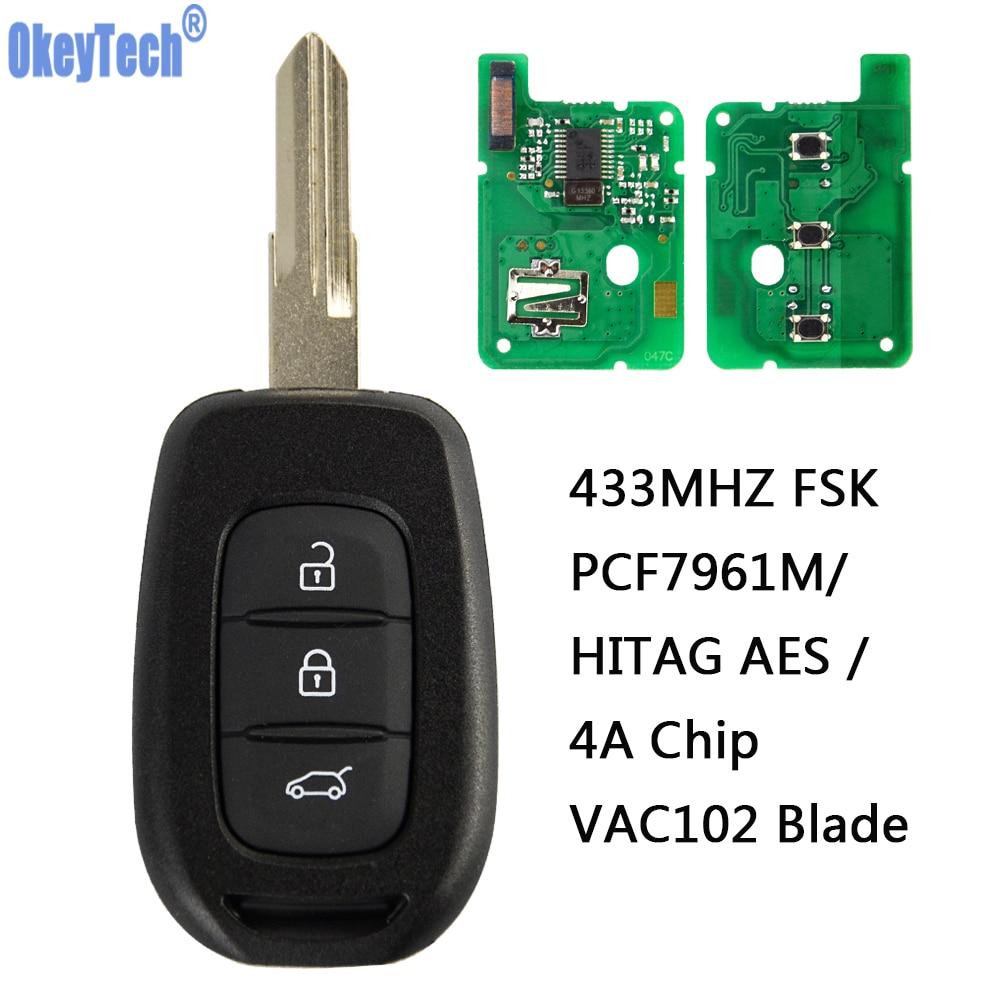 OkeyTech télécommande voiture clé 433 MHz Fob 3 boutons pour Renault Sandero Megane Duster Logan PCF7961M HITAG AES 4A puce VA2 VAC102 lame