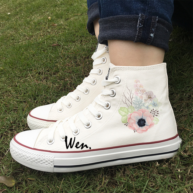 womens Skateboarding Shoes Canvas watercolor flowers painting Sport Sneaker