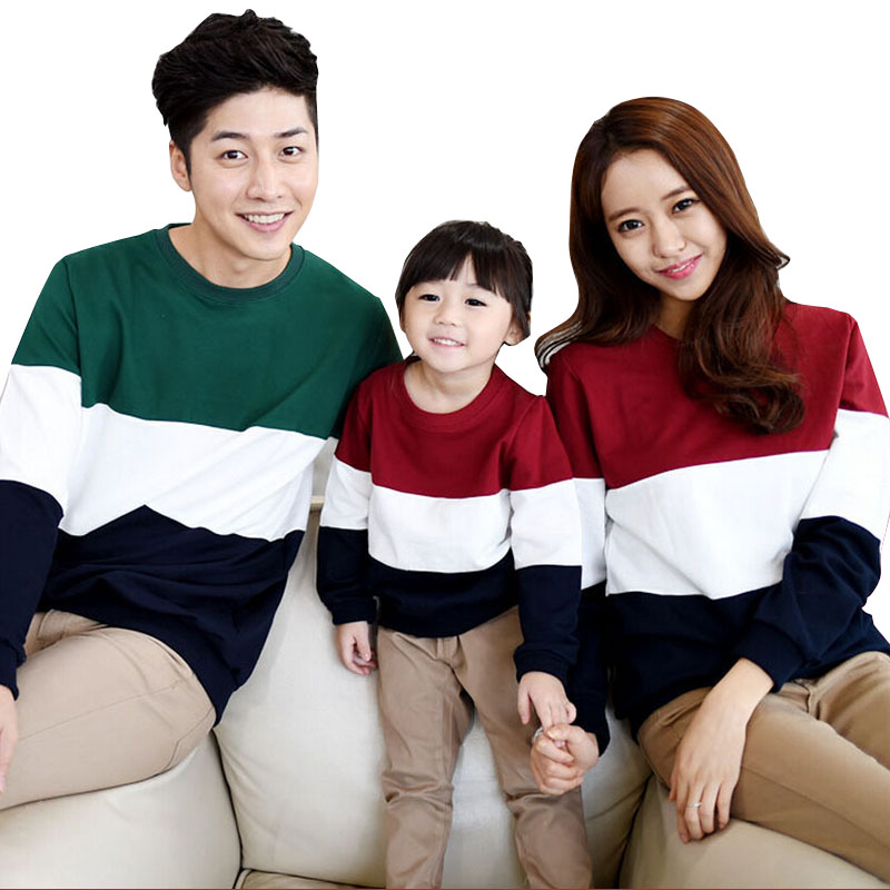 e51b7a9e664f Family clothing sets Spring Autumn Family matching Outfits long sleeve  Stripe father mother daughter baby girl