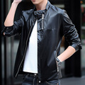 2015 autumn & winter  Fashion Design Men's Pu Leather Jacket Motorcycle Biker Male Jacket Slim Fit short Black hombre coat