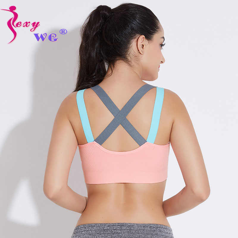 54d2722d1491e SEXYWG Woman Yoga Sports Bra Push Up Running Sport T-shirt Gym Shirt Top  Fitness