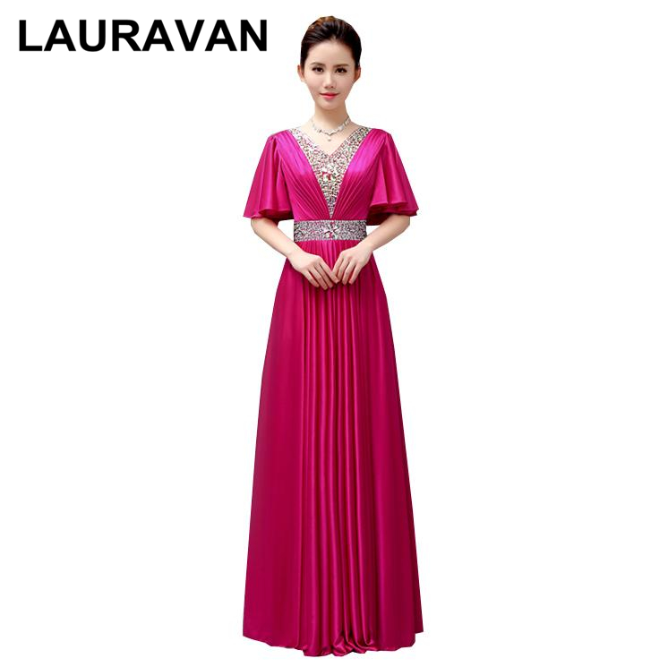 Long V Neck Hot Pink Fuchsia Bridesmaides Gowns Bridemaid Dress Beads And Sequins In Size 8 With Cap Sleeves 2019 New Arrival
