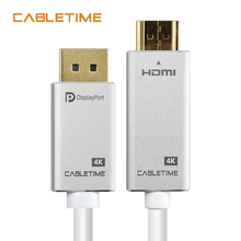 Cabletime DisplayPort To HDMI Cable 4K 30Hz DP To HDMI DP M/M Gold-Plated Pre DP 1.2 for HDTV Projector Laptop PC Monitor N165