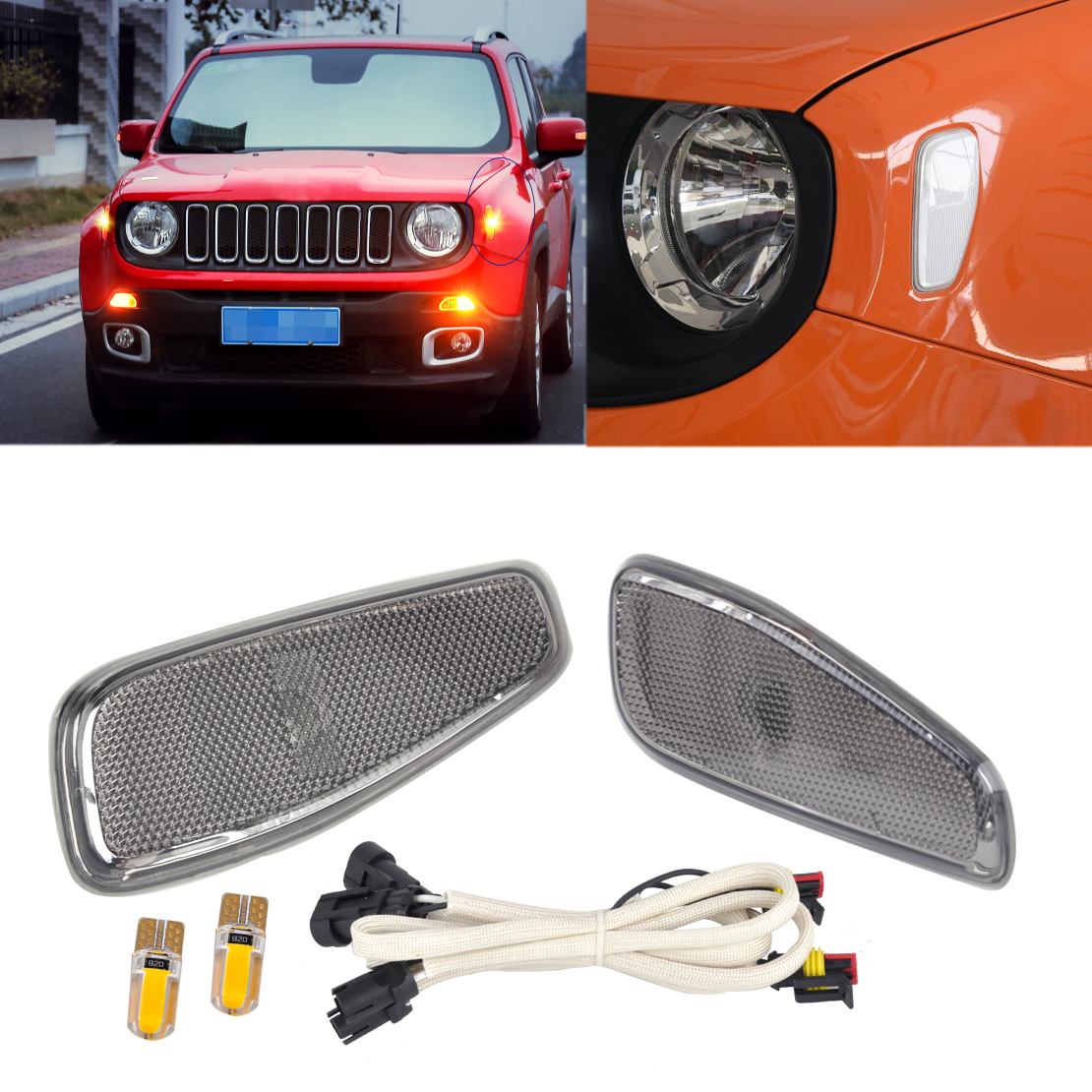 CITALL 2pcs Side Marker Lamp Covers with LED Light Cable Fit for Jeep Renegade 2015 2016 LHD Only 68256050AA 68256049AA