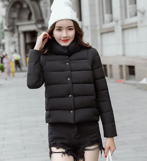 2018 women's fashion casual solid color hooded cotton jacket fur collar coat fashion slimming stand collar solid color knit splicing long sleeve cotton blend blazer for men