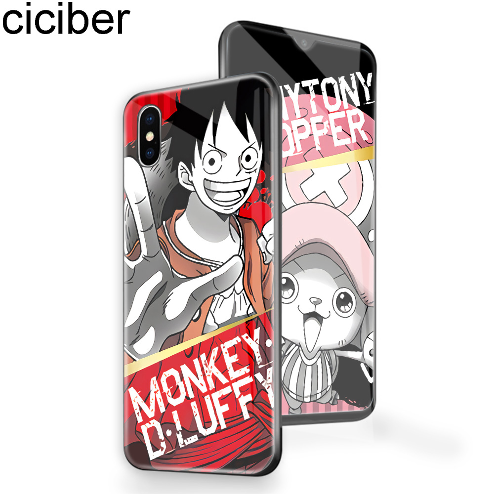 ciciber One piece Luffy Phone Case For iphone 11 Pro Max X XR XS Tempered Glass Cover Cases for Iphone 7 8 6 6S Plus Fundas
