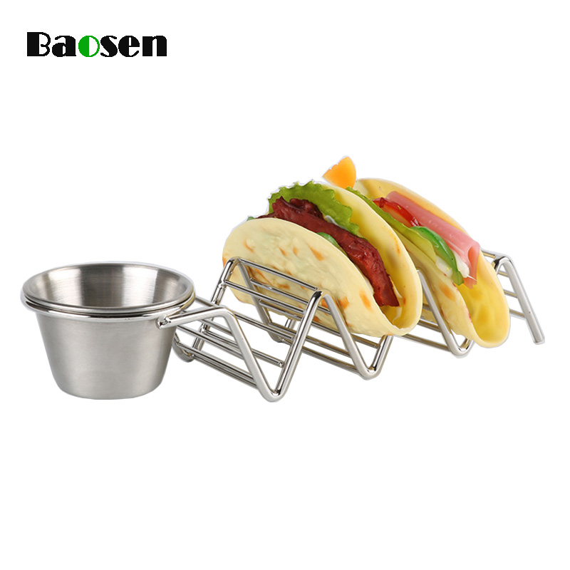 Baosen Stainless Steel Taco Holder Pie Tools Stand with Seasoning Cup Mexican Pancake Rack Taco Truck Tray Rack Kitchen Gadgets image