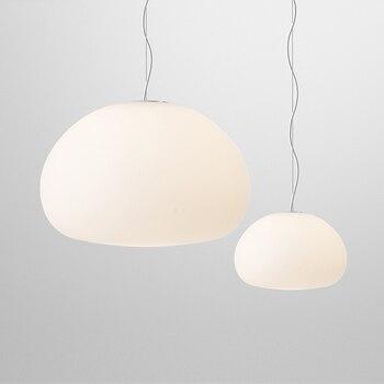 Lumière moderne de pendentif LED de conception de perle d'eau de verre blanc de lait pour la lampe de Suspension de barre de salle à manger de Foyer Dia 23/42 cm 1752