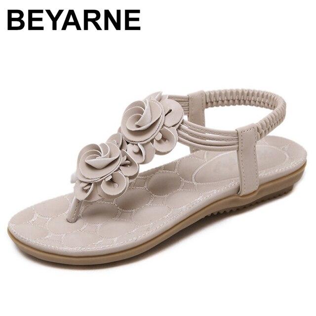 2f1302ebf BEYARNE New Women Summer Casual Bohemia Flat Sandals Shoes Woman Flower Flip  flop Sweet Beach Sandals Shoes Size 35-41