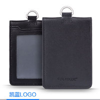 Card ID Holder Double Layer Genuine Leather Badge Case Black Two Decks Classic Style For Pilot