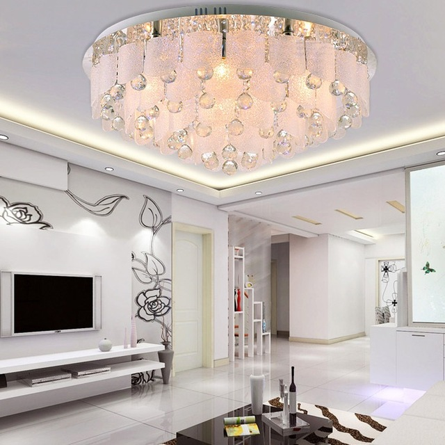 Modern Surface Mounted Led Crystal Chandelier Ceiling Remote Control Abs Lampshade Lights For Living Room