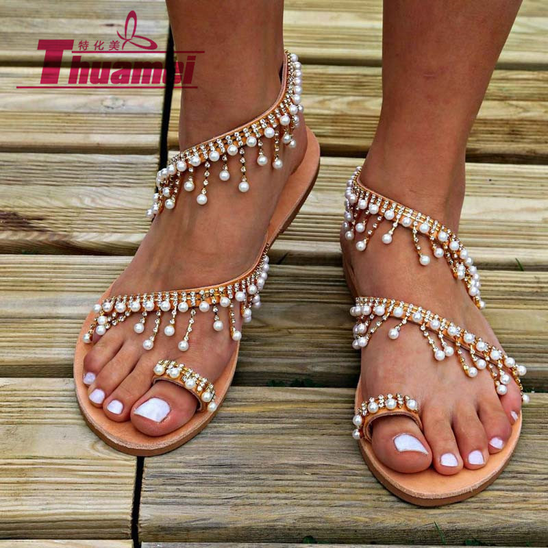 New Fashion <font><b>Flat</b></font> <font><b>Sexy</b></font> Women <font><b>Sandals</b></font> Bohemia Slip On Spring Summer Beach Shoes Gladiator Woman Plus Size 42 #Y0665130Q image