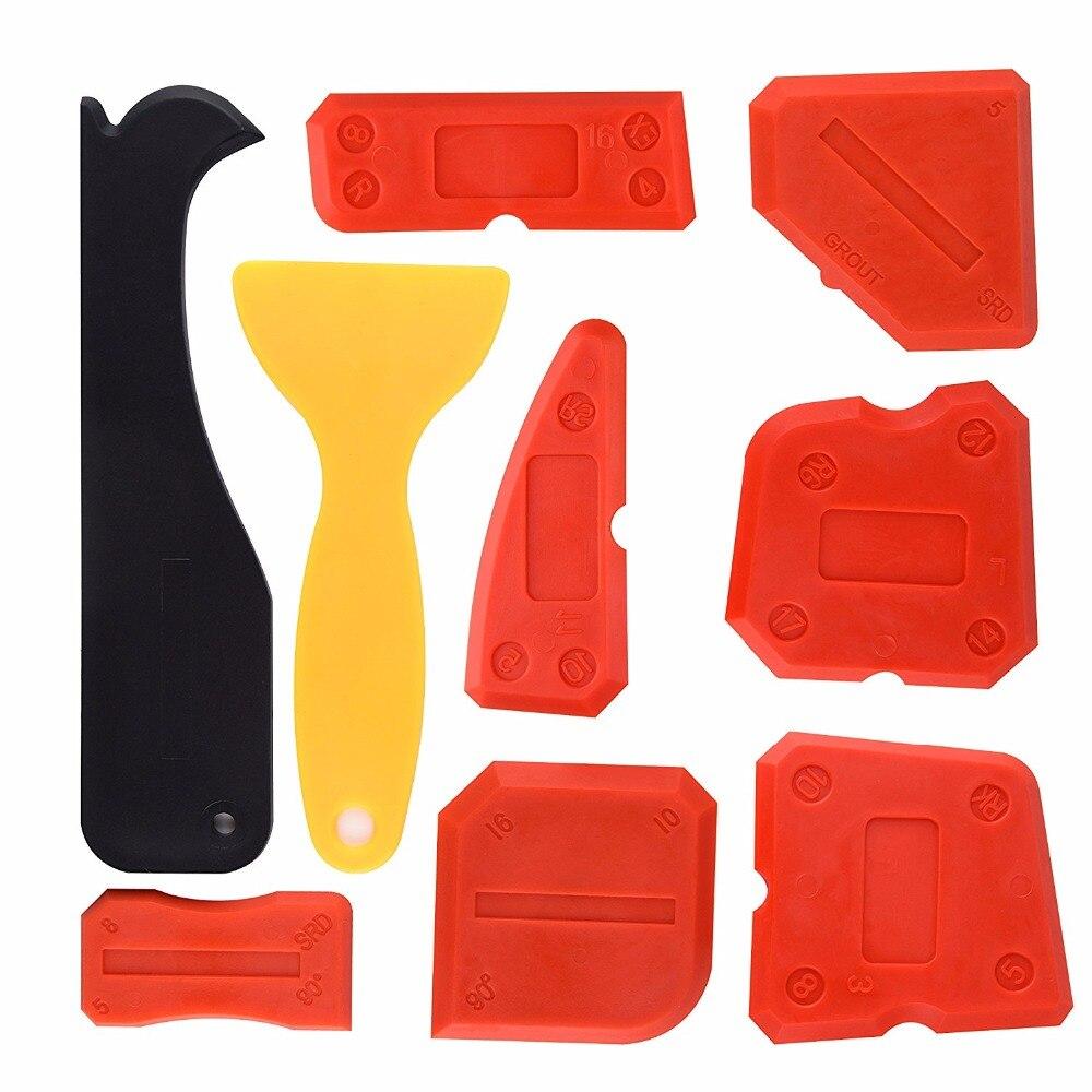 Free Shipping 9pcs Per Set Silicone Sealant Scraper Smoothing Tool Caulking Tool Kit Grout Finishing Tools