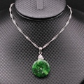 Fashion Jewelry White Gold Plated Round Green Jade Chain Pendants Necklaces For Women