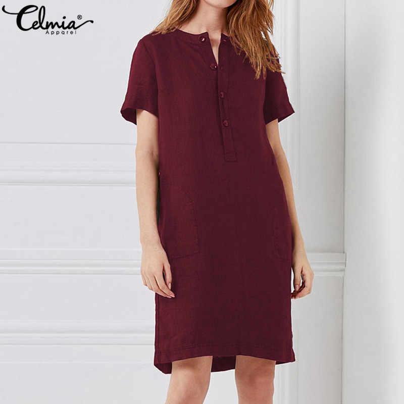 459c81834e ... Celmia mujeres Vintage vestido de lino 2019 camisa de verano vestido  damas de manga corta sólido ...