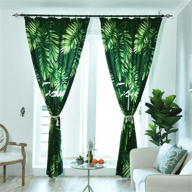 Green leaves Tropical plants tulle curtain for Kitchen living room bedroom Nordic style curtain hot sales#22#5%