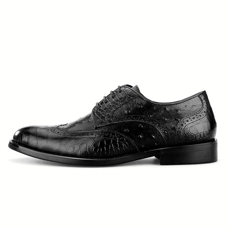 Dos Preto Genuíno Alta Sapatos Designers Vestido Formais Padrão marrom Italiana Luxo Do De Sapatas Couro Crocodilo Vintage Homens Qualidade Qyfcioufu Artesanal qBIwH8q