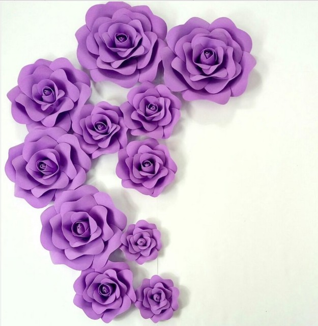 Purple Wedding Custom Foam Flower Wall DIY Paper Flower Backdrop Decoration Party Supplies