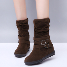 Womens Mid-calf Boots New Riding Equestrian Boots Plus Size Plush Warm Non-slip Ladies Autumn Winter Slip-on Shoes Best Sellers