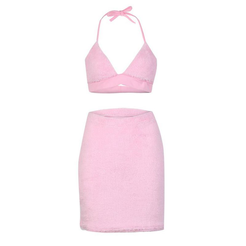 2018 Mini Velvet Dresses Women 2 pieces Pink Bodycon Dess Casual Short Vestidos High quality Matieral drop shipping H9