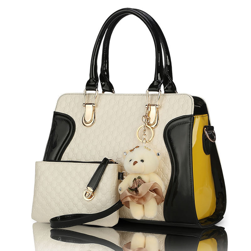 f7a8233253 2016 new European American fashion casual alligator pattern handbag patent  leather PU shoulder bag with purse bear toy