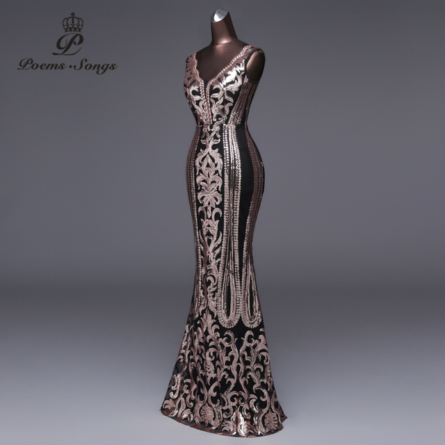 Poems Songs 2019 New Double-V Long Evening Dress vestido de festa Sexy Backless Luxury Gold Sequin formal party dress prom gowns 2