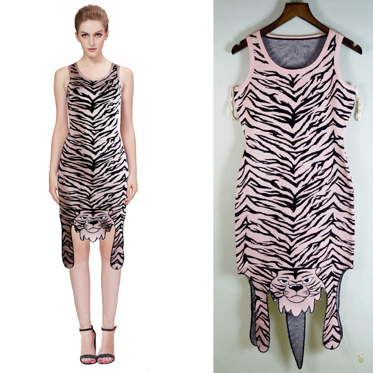 high quality New dress Pink And yellow leopard Jacquard High-end luxury Cocktail party Bandage dress (L1061)