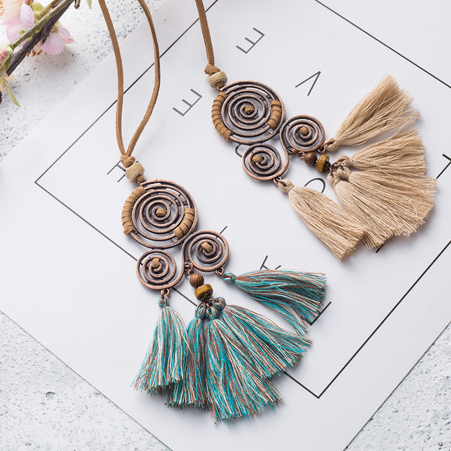Women's vintage long tassel pendant necklace Bohemian ethnic geometric fringed leather rope chain necklaces Charm jewelry 2019