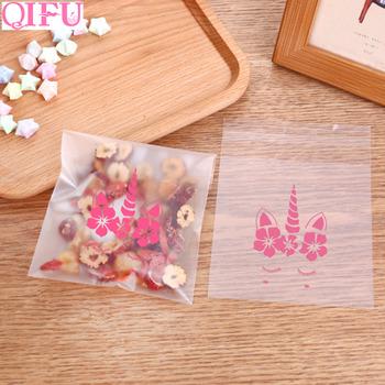 QIFU 100pcs Custom Plastic Transparent Unicorn Cookie Candy Bags For Unicorn Party Kids Favors Gifts Boxes Biscuit Baking Bags tanie i dobre opinie CN (pochodzenie) 100 sztuk Zwierzę rysunkowe Zwierząt W3042 Dzień Ziemi Rocznica do ujawnienia płci Na imprezę przyjęcie urodzinowe