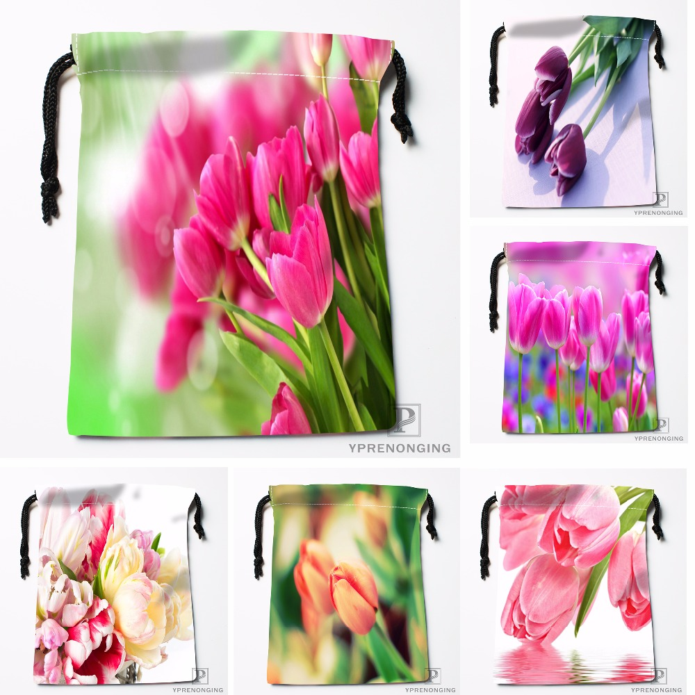 Custom Corlorful Flowers Tulip Drawstring Bags Travel Storage Mini Pouch Swim Hiking Toy Bag Size 18x22cm