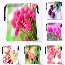 Custom Corlorful Flowers Tulip Drawstring Bags Travel Storage Mini Pouch Swim Hiking Toy Bag Size 18x22cm#0412-04-230