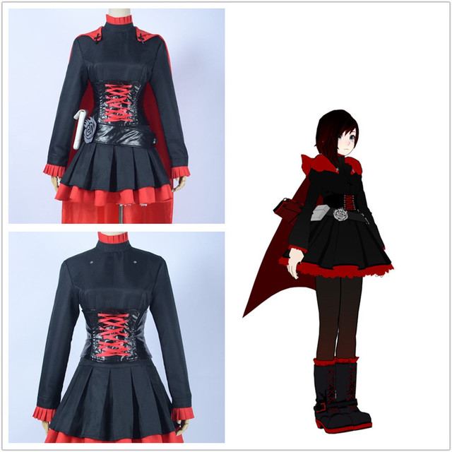 RWBY Red Trailer Ruby Rose Costume Dress suit for Girls Anime Halloween Cosplay Costumes & RWBY Red Trailer Ruby Rose Costume Dress suit for Girls Anime ...
