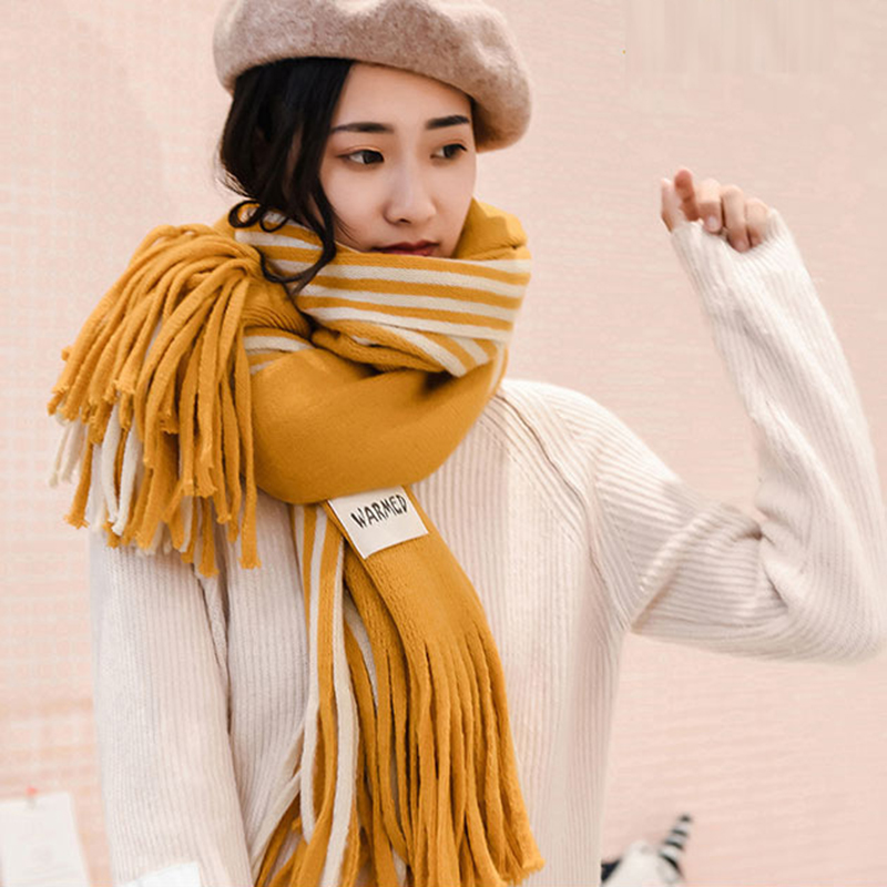 Winter Cashmere   Scarf   With Tassels Women Stripe Patchwork Thicken Warm Soft Long   Scarves   Female Knitted Shawls   Wraps   Wool   Scarf