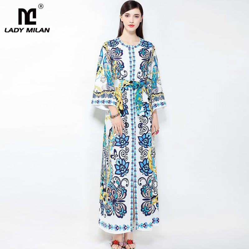 New Arrival 2018 Womens O Neck Long Sleeves Loose Design Floral Printed Sash Belt Sexy Split Fashion Casual Maxi Dresses