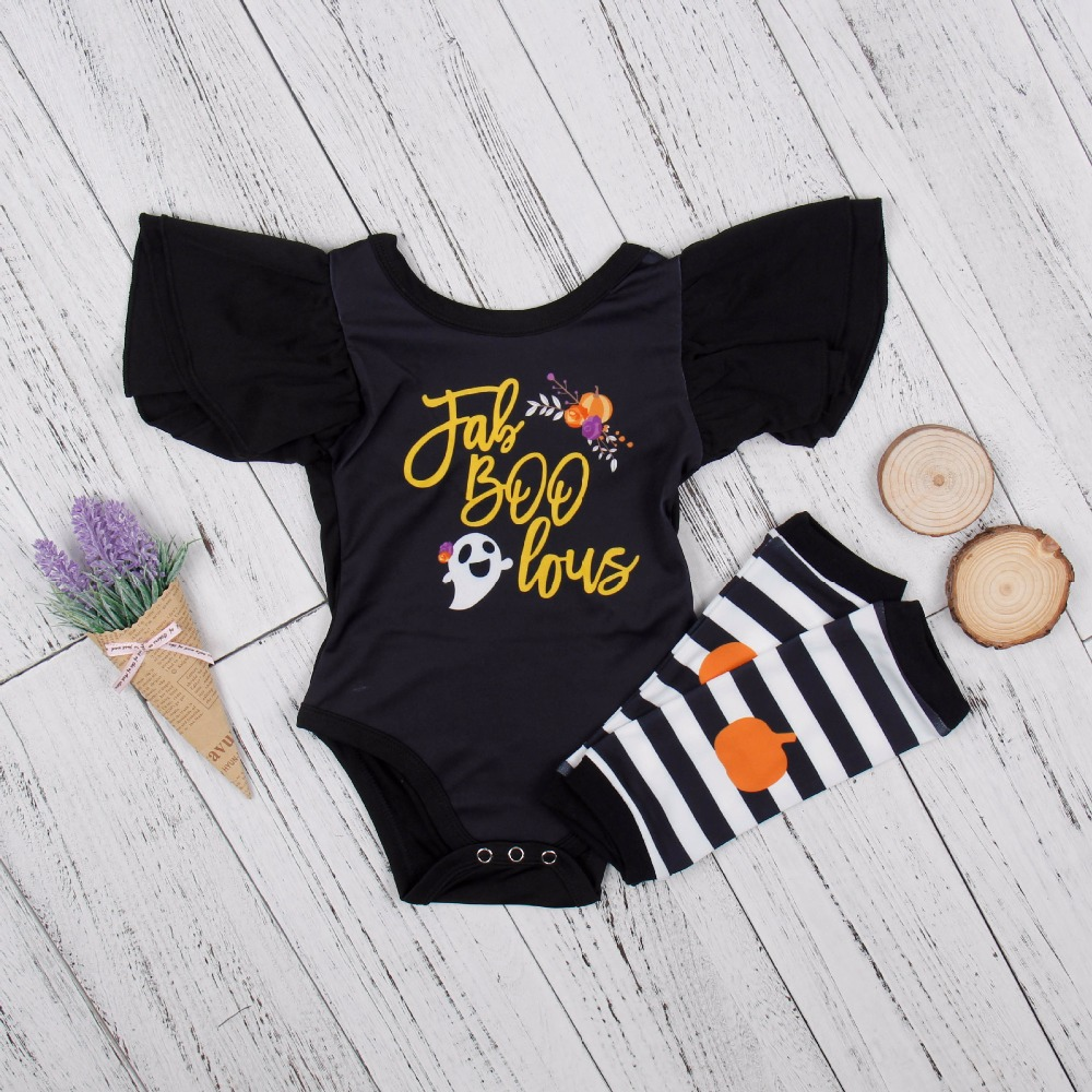 2017 Newborn Halloween Clothing Baby Girls Cartoon Print Black Short Sleeve Bodysuit+Striped Socks Infant Girls Sets Hot Sale BB