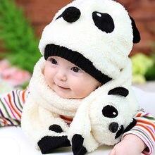 Niño Niñas Niños invierno sombrero lindo Panda sombrero del bebé bufanda  lana Beanie caliente Cap unisex 16204cbb4b8