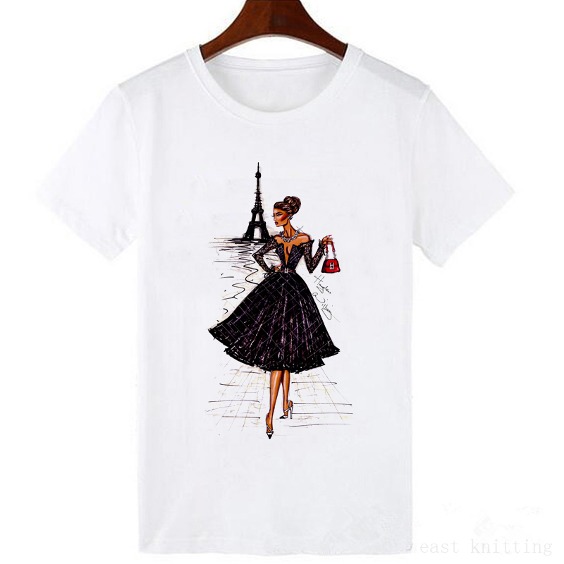 Vintage Vogue Paris printing Girl   T     Shirt   summer fashion Women casual Tops hipster cool ladies Tee
