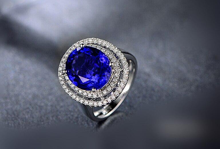 3 карат 925 Серебро Танзанит Диамант кольцо высокого класса Sapphire камень человек сделал кольцо с бриллиантом для женщин американский размер о