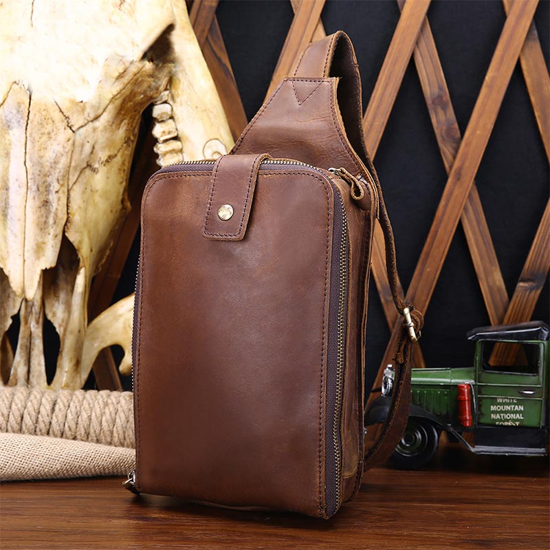 Brand Genuine Leather Casual Sling Bag Men Chest Pack Crossbody Shoulder Bag Messenger Bags for Boy Travel Double Zipper Design casual canvas women men satchel shoulder bags high quality crossbody messenger bags men military travel bag business leisure bag