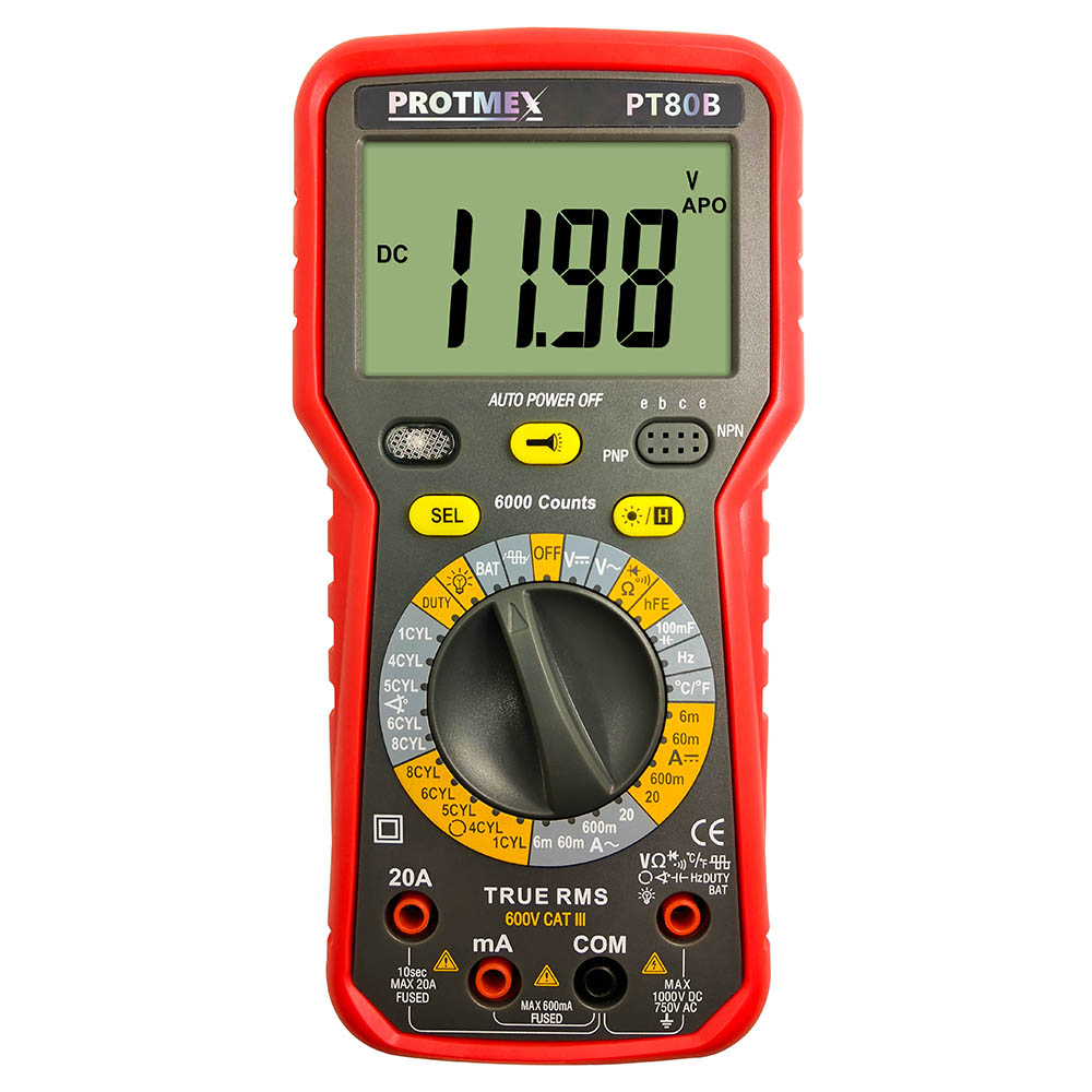 Car Tester 6000 counts Display TRMS Autoranging Automotive Car Motor Multimeter Frequency Capacitance AC DC and