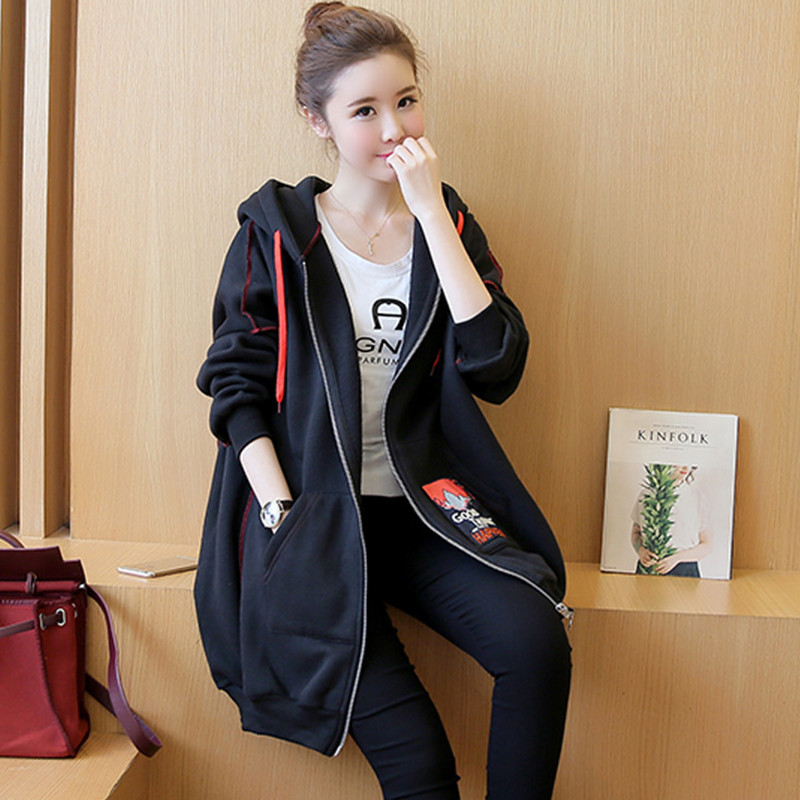 Autumn Winter New Fashion Version Of The Cloak Thicker Long Sleeves Black Hooded Sweater Maternity Loose Jacket Coat For MamAutumn Winter New Fashion Version Of The Cloak Thicker Long Sleeves Black Hooded Sweater Maternity Loose Jacket Coat For Mam