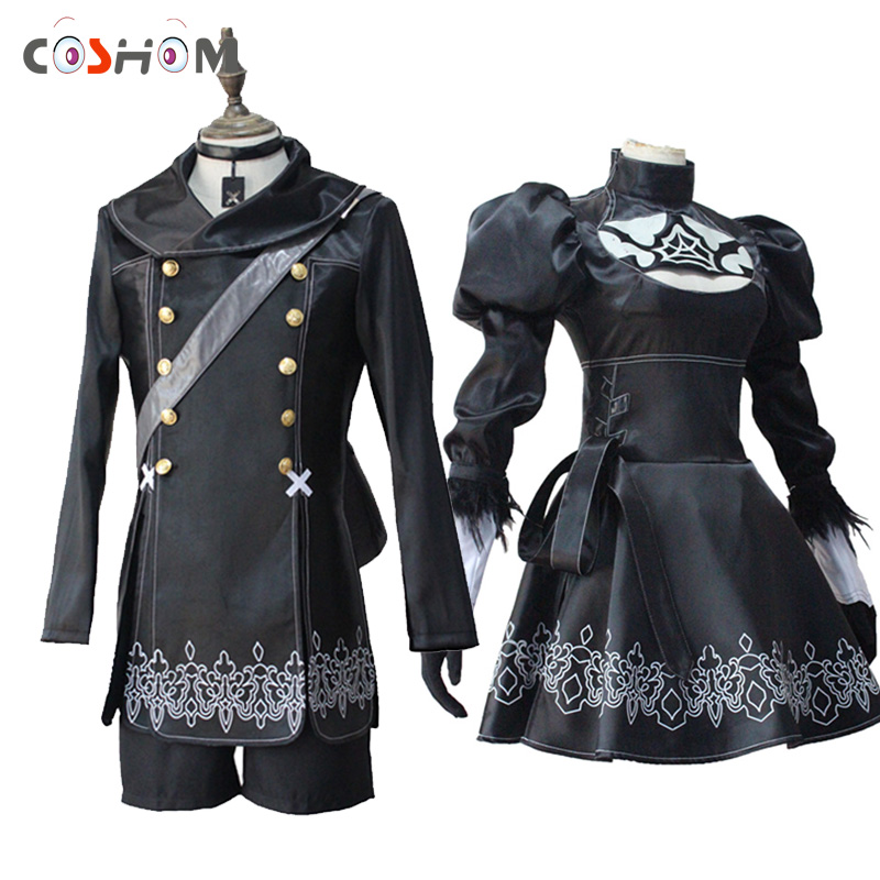 Coshome NieR Automata YoRHa Cosplay Costumes Men Adults Jacket Pants Women Black Dress Couple Halloween Party Clothing Full Set