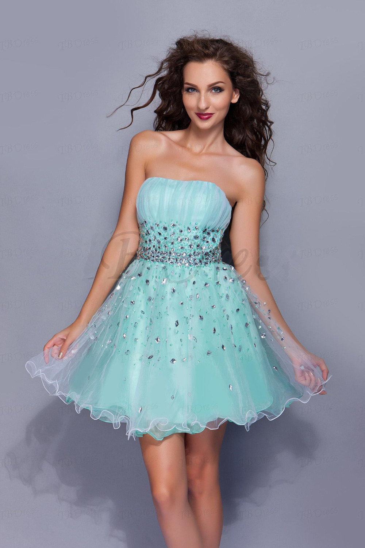 In Stock Luxury Crystal Short Prom Dresses 2017 Elegant Sky Blue A ...